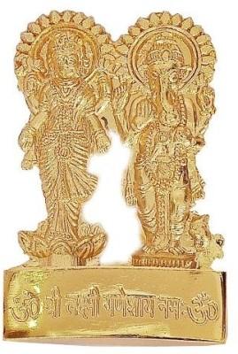 Indigo Creatives Stick Anywhere Auspicious Lakshmi Ganesh Brass Statue Gift Showpiece Figurine Showpiece  -  10 cm