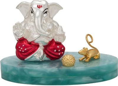 Siri Creations Ladoo Plated Ganesha Showpiece - 8.5 cm