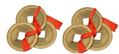 24 Carat Good fortune FENGSHUI/VASTU coins SET OF 2 COINS 3 COINS IN EACH SET Showpiece - 2.5 cm(Nickel, Gold Finish, Copper, Bronze, Iron, Gold)