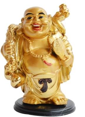 Vastughar Laughing Buddha Stands holding a Golden FAN for Good Luck & Prosperity Showpiece  -  10 cm