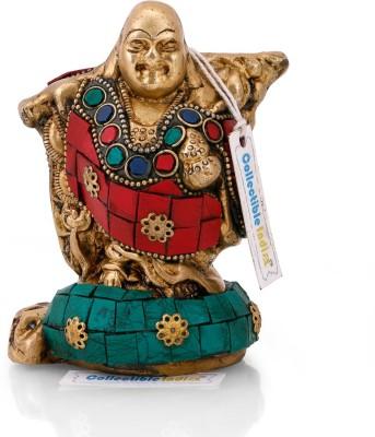 Collectible India Brass Laughing Buddha Statue Handmade Happy Chienese Buddha Sculpture Buddhist Idol Showpiece - 11.43 cm(Brass, Multicolor)