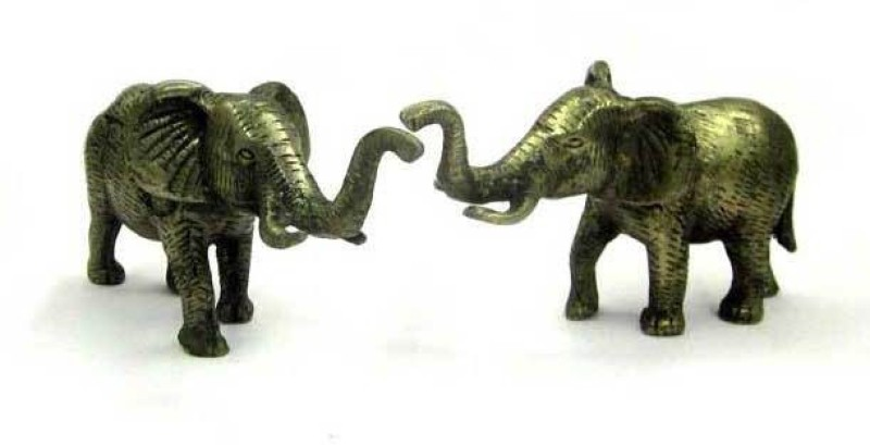 Sitare Pair of Elephant 400 gms Panchdhatu Showpiece  -  5 cm(Copper, Iron, Gold, Silver, Zinc, Grey)