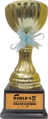 Tiedribbons Gift For World Best Grand Father Trophy Showpiece  -  22 cm(Gold Plated, Gold)