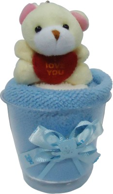 Gift-Tech Teddy Towel In A Glass A Gift For Your Dear One Showpiece  -  14 cm