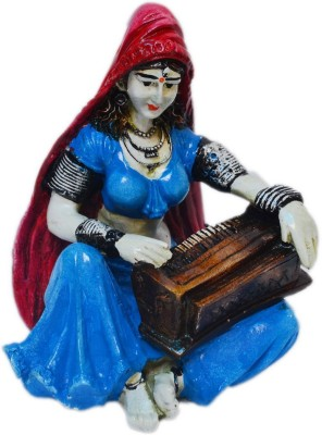 eCraftIndia Rajasthani Lady Playing Harmonium Showpiece  -  15.24 cm(Polyresin, Blue, Red)