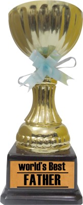 Tiedribbons Gift For World Best Father Trophy Showpiece  -  22 cm(Gold Plated, Gold)