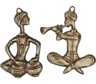 Aakrati Decorative Wall Hanging Sitting Men Statue Showpiece  -  2 cm(Brass, Gold)