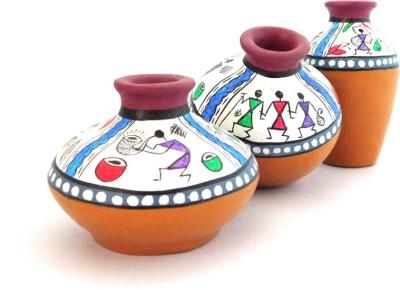 Chave Set of 3 Terracotta Warli Handmade Pot Set - Bergandi and Orange Base Colour - Traditional Art Showpiece  -  7 cm