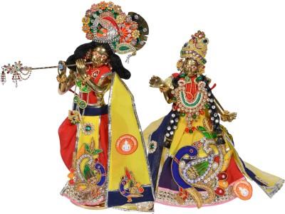 Holy Krishna Radha Krishna Brass Statue With Full Dress & Accessories Showpiece  -  21 cm