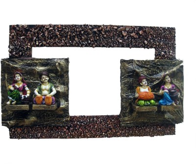 Krafthub 2 Rajasthani Couples In Rectangle Frame Showpiece  -  51 cm