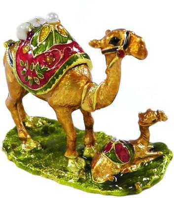 Indigocart AWESOME RAJASTHANI CAMLE WITH BABY CAMEL SINDOOR DIBIYA OR RING PRESENTING GIFT - HCF1065 Showpiece  -  7 cm
