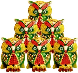 Artandcraftvilla Beautiful Wooden Owl Set Gift Item Showpiece - 15.24 cm(Wooden, Green)