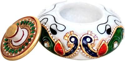 Handicrafts Paradise Marble Beautiful Peacock Motif Sindoor Dani Showpiece  -  5 cm