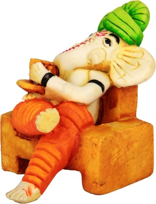 Adaa Ganesha Sitting On Chair And Having Coffee Showpiece  -  8 cm
