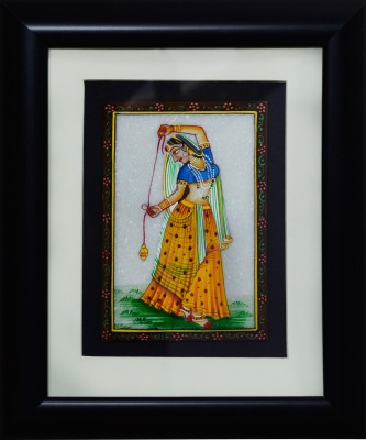 eCraftIndia Dancing Ragini Marble Painting (Wooden Framed) Showpiece  -  27.94 cm(Stoneware, Wooden, Multicolor)