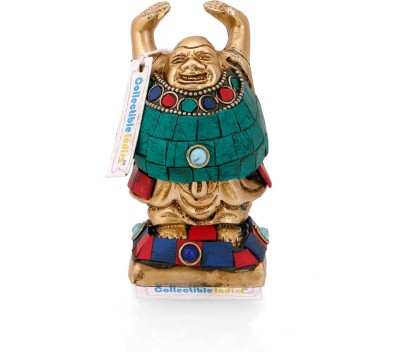 Collectible India Laughing Buddha Statue Happy Tibetan Buddha Sculpture Fengshui Home Decorative Showpiece - 11.43 cm(Brass, Multicolor)