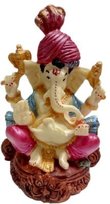 Heeran Art Religious Idols Of Pagadi Lord Ganesha Gajanan Ganpati Statue Bust Showpiece  -  12 cm