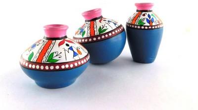 Chave Set of 3 Terracotta Warli Handmade Pot Set - Pink and Blue Base Colour - Indian Art Showpiece  -  7 cm