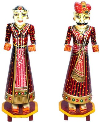 Surface 180 Wooden Rajasthani Couple With Hand Painting Showpiece  -  30 cm