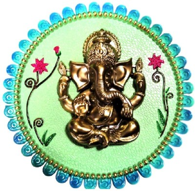 Divine Temples Colorful & Attractive Ganesha - (23 cm) Showpiece  -  3 cm
