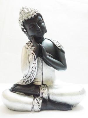 True Deal Lord Buddha Resting Statue-Silver Showpiece  -  17 cm
