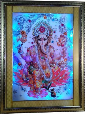 Giftvalley Exclusive ganesh frame wall hanging led Showpiece  -  48 cm