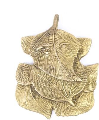 MohanJodero Elegant Brass Wall Hanging Peepal Patta Lord Ganesha Showpiece  -  14 cm