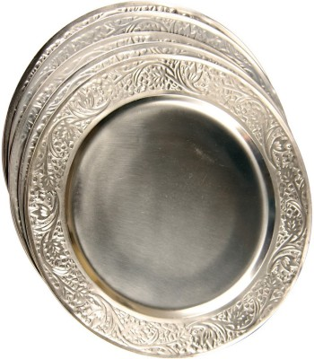 Sutra Decor Metal platter Set of 6 Pcs Showpiece  -  32.5 cm(Silver Finish, Silver)