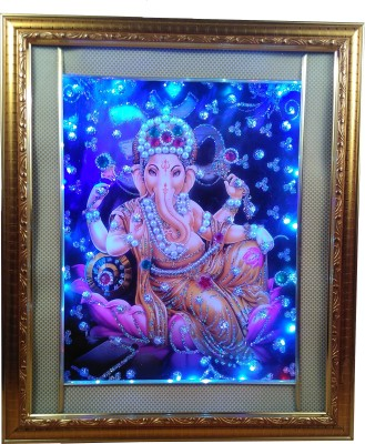 Giftvalley Exclusive ganesh frame wall hanging led Showpiece  -  33 cm