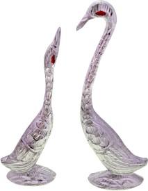 Panchal Choice White Metal Swan Set Handicraft Decorative Item Showpiece - 7.62 cm(Aluminium, Silver)