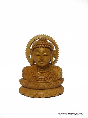 Divinecrafts Decorative Wooden Lord Budha Head In Meditation Showpiece  -  11.5 cm(Wooden, Brown)