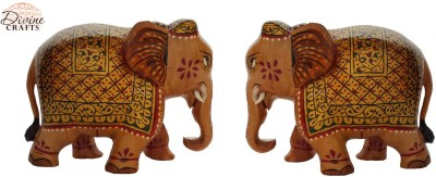 Divinecrafts Set of 2 Golden Elephant Statue Showpiece Showpiece  -  8 cm