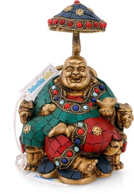 Collectible India Brass Laughing Buddha Statue Tibetan Happy Buddha Sculpture Fengshui Home Decorative Showpiece - 16.51 cm(Brass, Multicolor)