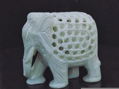 Radhey Marble Elephent With Beautifull Desine And Colormade Showpiece  -  7 cm