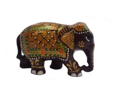 Divinecrafts Wooden Multicolour Painting Elephant Figurie Showpiece  -  5.3 cm