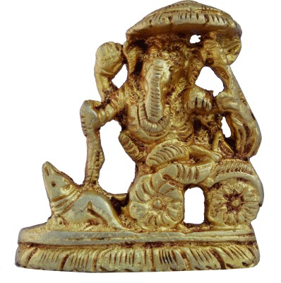 Aakrati Lord Ganesha Designer Statue By Aakrati Showpiece  -  6 cm(Brass, Yellow)