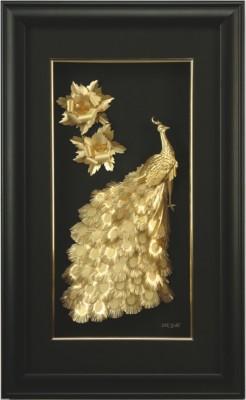 Aarya 24kt Small Peacock with Peony Showpiece  -  40 cm