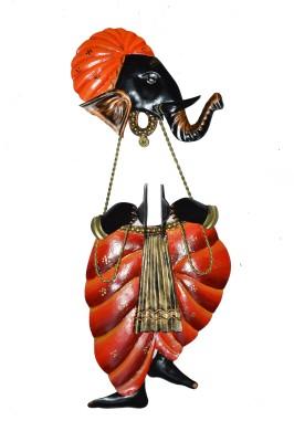 eCraftIndia Lord Ganesha playing Manjeera Wall Hanging Showpiece  -  44 cm