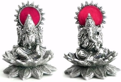 Traditional Rajasthan Laxmi Ganesh (White Metal) Showpiece  -  10 cm