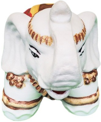 Fancy Interio White King Elephants Showpiece  -  8 cm