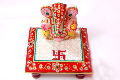 ganesh with choki marvel ganesh mini Showpiece  -  5 cm