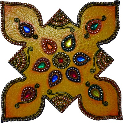 eCraftIndia Papier Mache Colorful Floor Rangoli with Gemstones Showpiece  -  44.45 cm