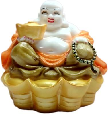 Heeran Art Feng Shui Laughing Buddha Happy Man Statue Idol Showpiece  -  14 cm