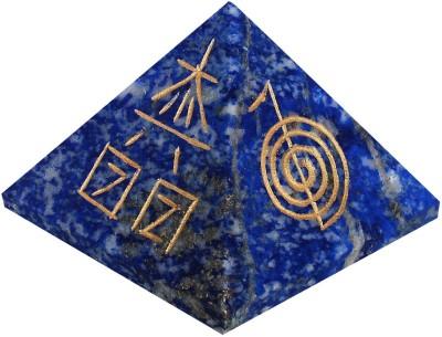 The Crystal Jewel Reiki Symbols carved on Lapiz Lazuli Pyramid Showpiece  -  3 cm