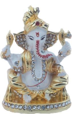Divyas Gold Plated Pagdi Ganesh Idol (white) Showpiece  -  7 cm