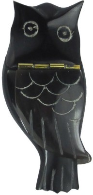 Prakrita Handicraft Owl Shaped Sindoor Box Made of Buffalo Horn Showpiece  -  7 cm
