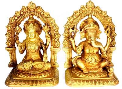 SKM Brass Idol Ganeshaa Laksmi mandir Showpiece  -  21.59 cm