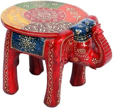 Surface 180 Elephant Shape Handpainted Wooden Round Stool Showpiece  -  17.78 cm