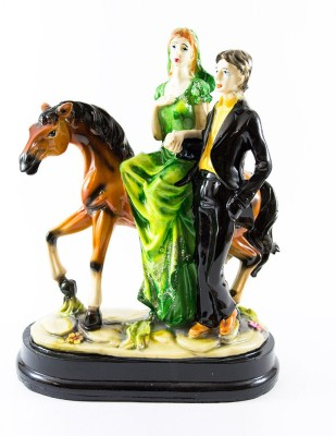 GiftsCellar Loving Couple Standing With Horse Showpiece  -  25 cm