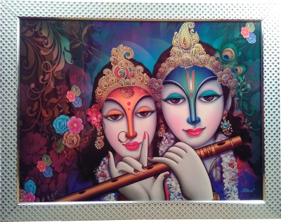 Giftvalley Exclusive Radha krishna flute frame wall hanging Showpiece  -  69 cm